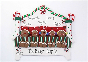 Picture of Gingerbread Family of 5 in Bed