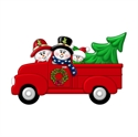 Picture of Couple in Red Truck with 1 kid
