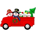 Picture of Couple in Red Truck with 3 kids