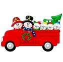 Picture of Couple in Red Truck with 4 kids