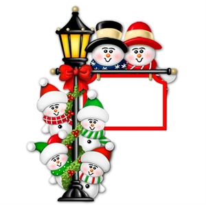 Picture of Snow Couple on Lamp post with 4 kids