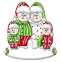 Picture of Snow Couple in PJs with 2 kids