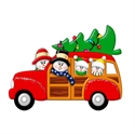 Picture of Snow Couple in Station Wagon with 2 kids