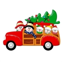 Picture of Snow Couple in Station Wagon with 3 kids