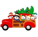 Picture of Snow Couple in Station Wagon with 4 kids